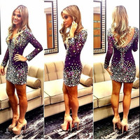 Rhinestone Cocktail Dress with Long Sleeve Sexy V Neck Open Back Short Fitted Formal Dress robe cocktail 2016
