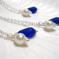 Royal Blue Sea glass Bridesmaids necklace - Bridesmaids jewelry for beach Wedding - Something Blue