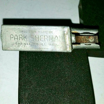 Sales Event  Sherman Park Lighter Green Crackle Collectible WWII Era Paratrooper Lighter, Park Sherman Co, Springfield, IL