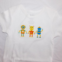 Little Robots Baby Bodysuit. Robot Shirt. Robot Baby Clothes. Science Baby.