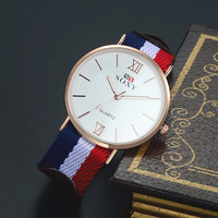 Womens Mens Nylon+Leather Strap Watch Lover Watches + Gift Box-01