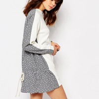 I Love Friday Dress With Mixed Fabric Front And Back