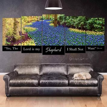 """5-Piece Canvas HD™ """"The Lord is My Shepherd"""" (Blue Flowers)"""