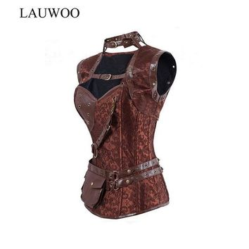DCCKL3Z LAUWOO Retro Gothic Black/Brown Steel Boned Corset Steampunk Corsets and Bustiers Mit Jacket Women Leather Corpetes Espartilhos
