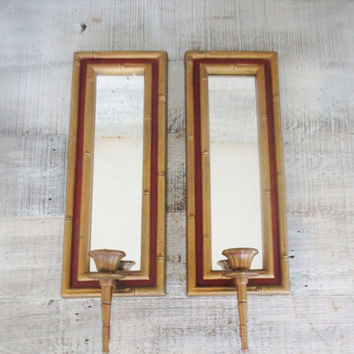 Candle Sconces Pair of Mirrored Gold Burwood Candle Sconces Bamboo Candle Holder Vintage Gold Wall Mount Sconces Hollywood Regency Decor