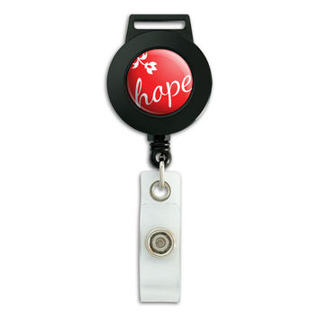 Elegant Hope Red Christmas Retractable Badge Card ID Holder