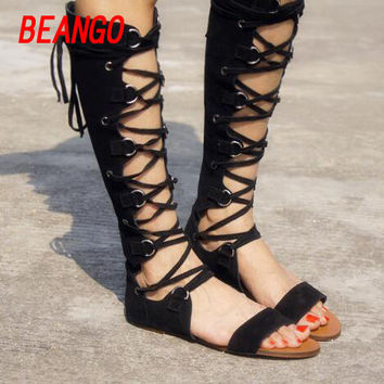 3f24d0709 BEANGO 2017 new summer cross strap sandals high gladiator sandals leather  hollow tall sandals cover heel