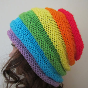Hand Knit Rainbow Beanie -  Colorful Hat in Multi-tones of Purple Bue Green Yellow Orange Red - Womens Fashion -  Spring Accessories