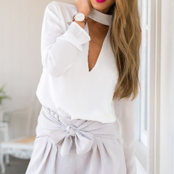 White Cutout Sleeve Shirt