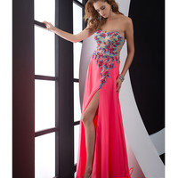 (PRE-ORDER) Jasz Couture 2014 Prom Dresses - Hot Pink & Floral Motif Beaded Chiffon Strapless Prom Dress