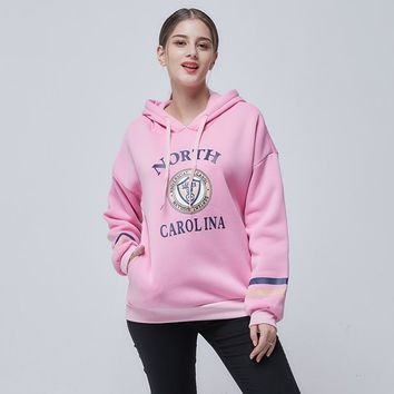 Autumn New Style Large Yards Loose Letter Print Stripe Paneled Patchwork All Matched Long Sleeve With Soft Nap Fleeces