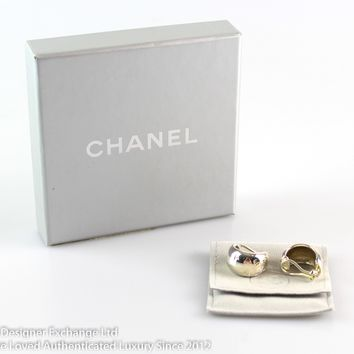 Chanel Fine Collection Argent Sterling Silver Boucles D'Oreil Clip On Earrings 00V