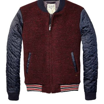 Bouclé Bomber Jacket With Quiled Satin Sleeves - Scotch & Soda