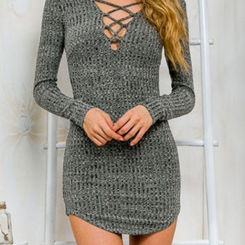 Grey Criss Cross V Neck Bodycon Sweater Dress