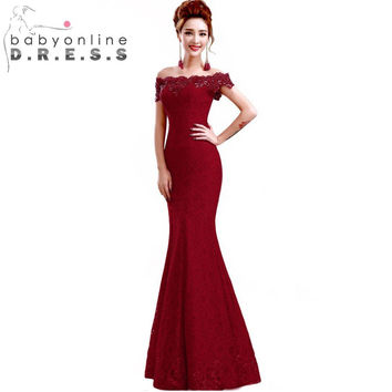 In Stock Elegant Beads Lace Mermaid Long Evening Dress 2017 Red Prom Dresses  Off The Shoulder Party Dress