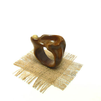 OOAK ring Natural jewelry Everydays Wear Hand Carved Wood ring Horn inclusion Golden ring Women's Ring Unusual wedding Mens band Earth Day