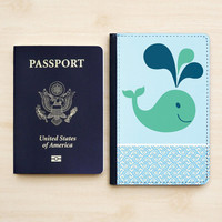 PASSPORT HOLDER WHALE Leather Passport Cover Passport Wallet Blue Pattern Cute Animal Sea Fish