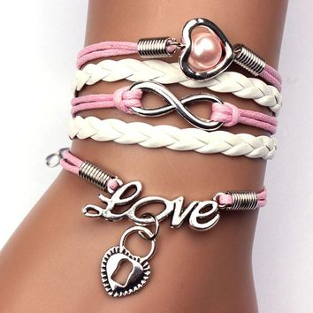 Infinity Pearl Heart Lock Friendship Leather Charm Bracelet Alloy Cute