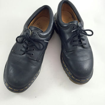 Vintage Black Doc Martens Loafers Lace Up Shoes Mens Black Doctor Martens Oxfords Made In England Unisex Doc Martens Black Dr Martens