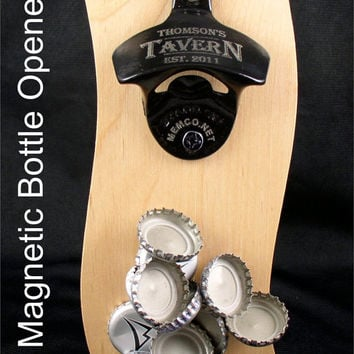 Set of 8 Personalized Bottle Openers for your Groomsmen Gifts - Wall Mount Bottle Openers with capcatchers