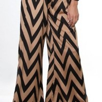 Sexy clubbing Junior Outfits Taupe Black Chevron Zig-Zag Print Palazzo Wide Pants-Taupe-Small