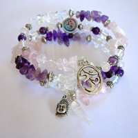 Yoga Inspired Meditation Memory Wire Bracelet, Moonstone, Amethyst, Rose Quartz, and Clear Quartz Ohm, Lotus Flower and Buddha Charms