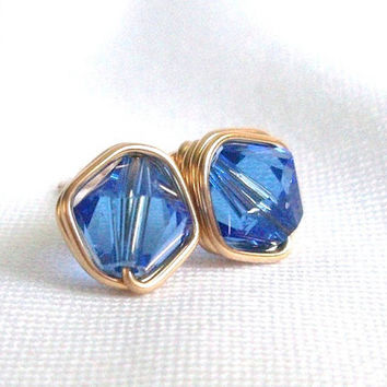 Swarovski Sapphire Gold Filled Crystal Stud Earrings, Wire Wrapped Jewelry Handmade, Blue Earings, Blue Jewellery