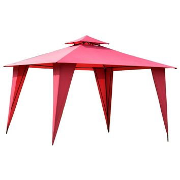 11ft x 11ft Steel Gazebo Canopy Tent Party Red