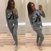 CK Letters print hedging long sleeve pants two piece sweatpants