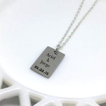 Couple Name Necklace, Couple Necklace, Couple Jewelry, Date Necklace, Engraved Necklace, Engraved Jewelry, Custom Necklace, Girlfriend Gift