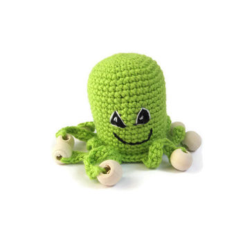 Toy Octopus Rattle baby nursery crochet Sensory toys baby boy gift grasping toy green octopus baby toddler toys rattles wood beads