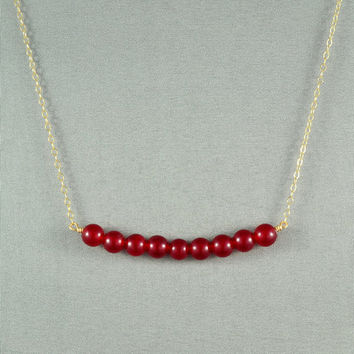 Beautiful Carnelian  Beaded Necklace, Wired Beads, 14K Gold Filled Chain, Wonderful Jewelry
