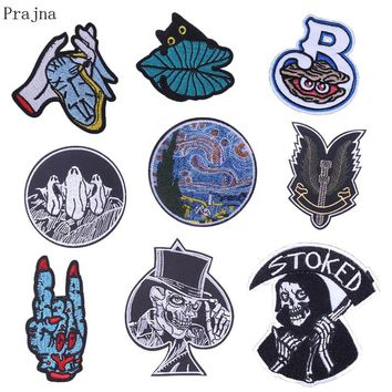 Prajna Van Gogh Patch Hand Motorcycle Parches Punk Rock Stalker Stranger Things Patch Embroidered Iron On Patches For Clothes