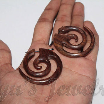 Organic Tribal Spiral Stick Post Wooden Earrings With African Ethnic Styling
