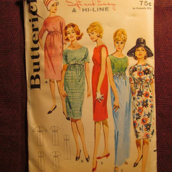 SALE Uncut 1960's Butterick Sewing Pattern, 2935! Size 16 Bust 36 Medium/Large/Women's/Misses/Soft-Easy & Hi-Line/Kimono Sleeved Dress/Loose