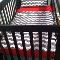Chevron and red minky blanket