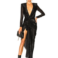 Redemption Black Striped Couture Dress in Black | FWRD