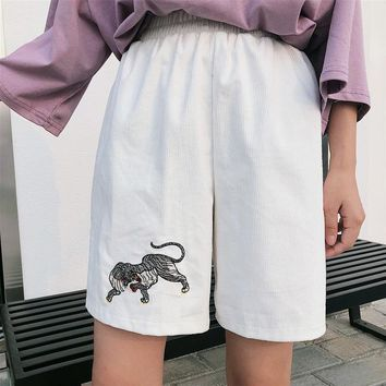 Korea Summer kawaii high waist Shorts femme Vintage Corduroy Embroidered Tiger Loose Shorts Couples Boardshorts Women