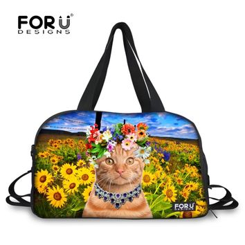 Cute 3D Cat Travel Duffle Bag Women Luggage Bag Zoo Animal Sunflower Print Teenager Large Capacity Duffle Shoulder Weekend Bags