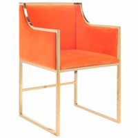 Worlds Away Anabelle Orange with Brass Chair