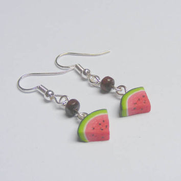 Food Jewelry Watermelon Slice Miniature Food Earrings - Miniature Food Jewellery,Handmade Earrings,Mini Food Jewelry, Fruit Jewelry