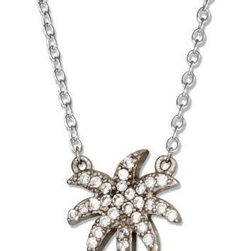 """Sterling Silver Necklace:  16""""-18"""" Adjustable Micro Pave Cubic Zirconia Palm Tree Necklace"""