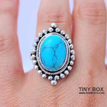 Big Bold Statement Ring - Stone Turquoise Ring - Cocktail Ring - Big Ring - Oversized Ring - native Ring -  Turquoise jewelry -