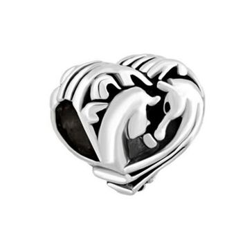 Free shipping Filigree Heart Couples Horse Best Friends Forever Charms Beads fit Pandora bracelet