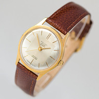 Automatic men's watch Poljot de Luxe gold plated vintage, self winding men watch, shockproof watch water protected premium leather strap new