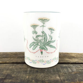 Vintage Flower, Herbs Ceramic Utensil Holder / Yarrow Chives Cottage Chic Kitchen Storage Container / Jar / Floral Pattern on Creamy White