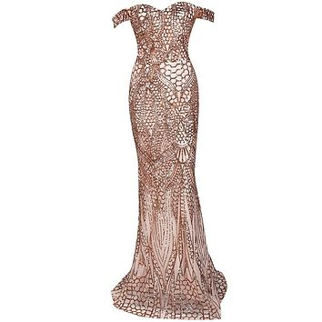 Gold Off Shoulder Evening Gown - Free Shipping - Prom Dress