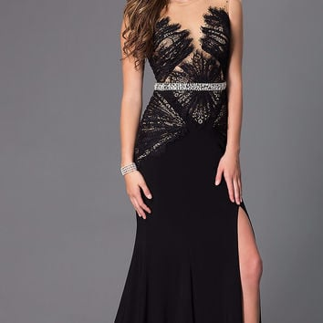 Colors 1281 In Stock Black SZ 8  Lace Jersey Sheer Illusion Prom Dress Evening Gown MOB