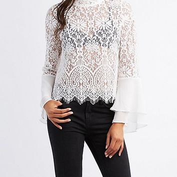 Lace & Chiffon Bell Sleeve Top