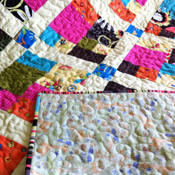 CityScape Baby Quilt in Bright Juvenile  Prints